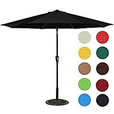 Sundale Outdoor 9 Feet Outdoor Aluminum Patio Umbrella with Auto Tilt and Crank, 8 Alu. Ribs, 100% Polyester (Black)