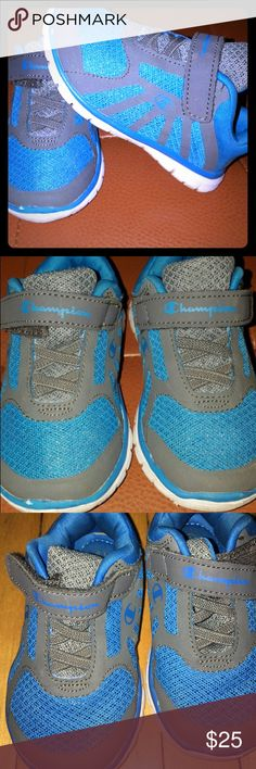Champion brand boys size 6 shoes Boys size 6 blue gray and white tennis shoes. Champion brand. Velcro. Super comfortable and cute. Goes with any outfit. Gently used in good condition Champion Shoes Sneakers