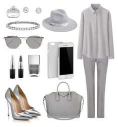 Gallant in Gray by apor4824 on Polyvore featuring polyvore, fashion, style, Uniqlo, HUGO, Casadei, Givenchy, Blue Nile, Kobelli, Linda Farrow, Lack of Color, C6, MAC Cosmetics, Nails Inc. and clothing