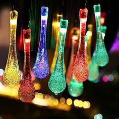 Solar Outdoor String Lights, 21.3ft 30 LED Waterproof Water Drop Solar String Fairy Lights Christmas Lights for Garden, Patio, Yard, Home, Christmas Tree, Parties, Holiday Decorations, Multi-Color ** More info @