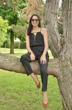 jumpsuit, black jumpsuit, red shoes, indian shoes, fuschia shoes, fuchsia shoes, pakistani shoes, jennifer garer black jumpsuit, chanel, cla...