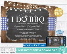 I Do BBQ Couples Shower Invite Engagement Party Navy Invitation Download Wedding Rustic Chalk Check Personalize Editable Printable WCWI001 Shower Invitations, Engagement Invitations, Invite, Printing Websites, Printing Services, Online Printing, I Do Bbq, Used Computers