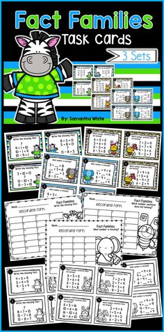 Fact family task cards! Your students will enjoy using these task cards to practice their fact family skills!  The three sets included can be used throughout the year to reinforce the relationship between addition and subtraction.  Recording forms and answer keys are included with the graphics matching the cards for easy organization.