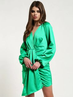 Buy Missguided Green Satin Front-Tape Shift Dress for Women Online in India Green Shift Dress, Green Satin, Online Dress Shopping, Draped Dress, Missguided, Classic Looks, Dresses Online, Tape, India