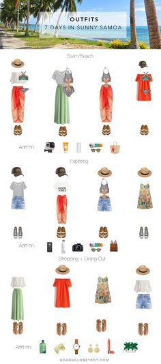 A travel wardrobe capsule for spending 7 days in sunny Samoa - including what to pack and outfit ideas for the beach, exploring and dining out. Outfit for travel summer Beach Vacation Outfits, Vacation Style, Beach Trip, Vacation Trips, Outfit Beach, Beach Vacations, Beach Ootd, Mexico Vacation, Mexico Travel