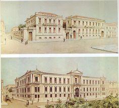 Στη θέση του κεντρικού κτιρίου της Εθνικής Τράπεζας, στην οδό Αιόλου, υπήρχαν τον 19ο αιώνα δυο χωριστά διώροφα κτίρια, χτισμένα τη δεκαετία του 1840. Αριστερά βρισκόταν η οικία Δομνάνδου, που αγοράστηκε το 1845 από τον τραπεζίτη Γεώργιο Σταύρου και στέγασε το πρώτο τραπεζικό κατάστημα της ελεύθερης Ελλάδας. Δεξιά βρισκόταν το ξενοδοχείο «Αγγλία» του επιχειρηματία Φραγκίσκου Φεράλδη, που αγοράστηκε με τη σειρά του μια δεκαετία αργότερα, με την επέκταση των εργασιών της τράπεζας.
