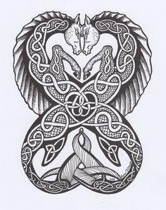 Pictish seahorses; Celtic; kelpies; tattoo design