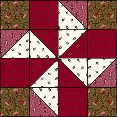 """Civil War quilt: """"Pinwheel Block"""" kind of - if the inside block were all white it would be more like the Brackman Pinwheel. Star Quilt Blocks, Star Quilts, Quilt Block Patterns, Pattern Blocks, Quilting Projects, Quilting Designs, Embroidery Designs, Half Square Triangle Quilts, Square Quilt"""