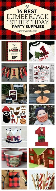14 best Lumberjack 1st birthday party supplies. You will love all these handmade goods! | CatchMyparty.com