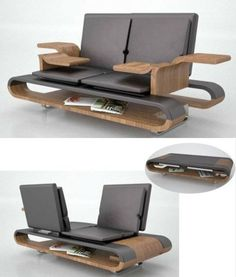 Calypso Multifunction Seating by Brandon Allen - can fold out to be a lounge, or individual seating, armrests to support remotes, laptops etc, contains magazines underneath and folds away to become a coffee table when not in use.