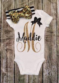 DIY your photo charms, compatible with Pandora bracelets. Make your gifts special. Make your life special! Personalized Monogram Bodysuit Sparkle Baby Girl by BellaPiccoli Baby Girl Onsies, Baby Shirts, My Baby Girl, Shirts For Girls, Baby Onesie, Baby Outfits, Toddler Outfits, Toddler Girls, Baby Monogram