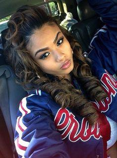 jacket india westbrooks selfie swag dope urban _indialove curly hair baseball jacket black girls killin it coat Love Hair, Gorgeous Hair, Weave Hairstyles, Pretty Hairstyles, Curly Hair Styles, Natural Hair Styles, Chantal, Pelo Natural, Hair Laid