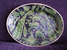 """Antique Mexican Platter - Green and Black Fantasia 1920-1930 (14.5"""" x 11"""")"""
