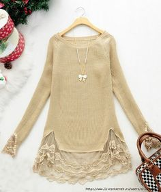 8f7378bdaeb6e Thrift store sweater update idea with lace that is a great idea love it  paired with black leggings   ankle boots
