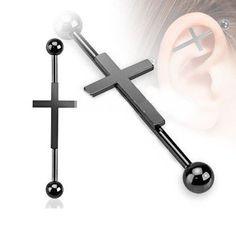 Industrial Piercing Kreuz Guys Ear Piercings, Ear Gauges, Cartilage Earrings, Tongue Piercings, Industrial Bar Piercing, Industrial Earrings, Industrial Bars, Tapers And Plugs, Punk Earrings