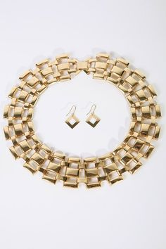 #1015store.com #fashion #style golden jumbo chain link necklace set-$16.00