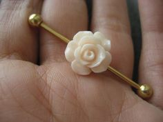 Choose Your Color Rose Industrial Barbell by Azeetadesigns on Etsy