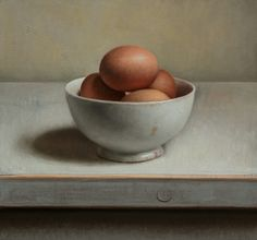 Jos Van Riswick | OIL | Still Life With Eggs On White Table
