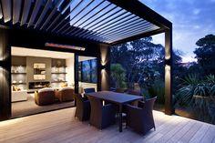 Aluminium Louvres motorized louvre roofs New Zealand Outdoor Areas, Outdoor Rooms, Outdoor Living, Outdoor Structures, Outdoor Decor, Deck Ideas New Zealand, Patio Design, Garden Design, Louvered Pergola