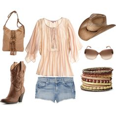 Cute Cowgirl., created by amy1311 on Polyvore - if only I could pull off the cowboy hat...
