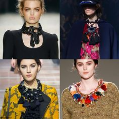 Trendy jewelry style for FW 2015: Statement fringed necklace. Tom Ford, Lanvin, Lanvin, and Stella Jean Fall Winter 2015. fw15 aw15