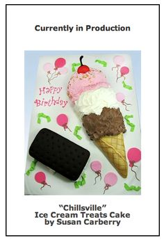 Coming soon to YummyArts.  An adorable ice cream cone, and ice-cream sandwich cake!  Perfect for a birthday or ice cream party!      We would love for you to follow us on Facebook for more how to cake decorate cake and cookie fun!  www.facebook.com/yummyarts.