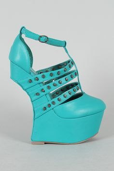 Privileged Rush Heel Less Studded Skull Strappy Platform Curved Wedge $89