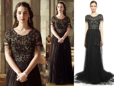 Reign 3x07, Mary wears this Marchesa beaded tulle gown