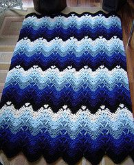 Ravelry: CrochetDan's Mountain Forests crochet afghan blanket, ripple variation.