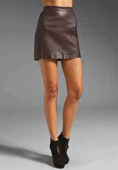 CLOVER CANYON Leather Mini Skirt in Burgundy