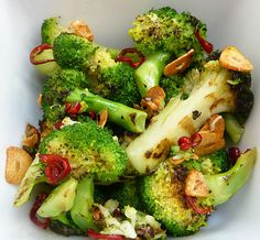 chargrilled broccoli with chilli and garlic