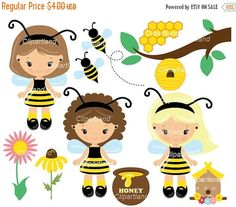 ON SALE INSTANT Download. Bee girl clip art. Cb_1. Personal