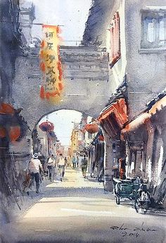 """""""Old Town in Suzhou 3"""" (watercolor, 31x46 cm)"""