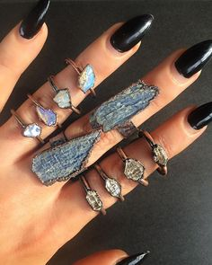 ✣ mixing copper with Quartz, Aussie Opals and Kyanite www.childofwild.com ✣ #childofwild #opals Ring Bracelet, Ring Necklace, Jewelry Accessories, Jewelry Design, Magical Jewelry, Nail Ring, Boho Beautiful, Antique Rings, Stones And Crystals