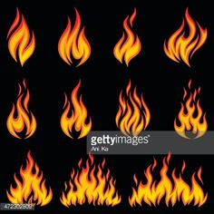 View top-quality illustrations of Fire Collection. Find premium, high-resolution illustrative art at Getty Images. Drawing Flames, Fire Drawing, Magia Elemental, Comic Book Layout, Flame Tattoos, Pinstriping Designs, Flame Design, Graffiti Wall Art, Flame Art
