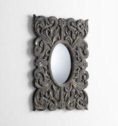 Slate Scroll Ceramic Wall Mirror by Cyan Design