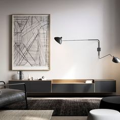 Wall mounted Lauki unit in walnut and graphite. Media Furniture, Sideboard Furniture, Living Room Furniture, Furniture Design, Living Room Seating, Living Room Tv, Home And Living, Contemporary Tv Units, Contemporary Furniture