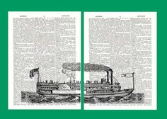 Steamboat Mississipi Diptych Print vintage by PrintLand on Etsy, $17.00
