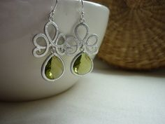 Peridot Green Sterling Silver Earrings  834. by MadeByDeb3 on Etsy, £14.99