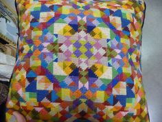 Needlepoint pillow that looks like a quilt