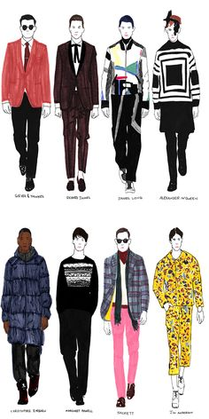 The best looks from London Collections: Men, sketched by Janelle Burger in exclusive for Fucking Young! Online. Illustration Mode, Fashion Illustration Sketches, Fashion Sketchbook, Fashion Design Sketches, Design Illustrations, Fashion Art, New Fashion, Trendy Fashion, Classy Fashion