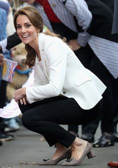 Kate, as ever, got fully involved in the day's activities, happily meeting the crowd, shaking hands with children and chatting to guests