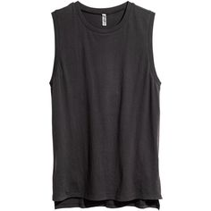 H&M Jersey top (€3,34) ❤ liked on Polyvore featuring tops, shirts, tanks, tank tops, dark grey, jersey shirt, dark grey shirt, cotton tank, jersey tank and shirt jersey