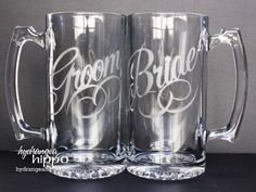 Bride and Groom - Etched Glass Beer Mug.I don't want champagne flutes ; Bride And Groom Glasses, Wedding Glasses, Wedding Mugs, Wedding Flutes, Etched Glassware, Glass Beer Mugs, Silhouette Projects, Silhouette Cameo, Cute Mugs