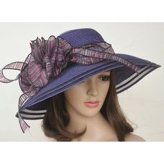 Beautiful Purple Dress Hat. Straw Summer Beach Hat with wide brim and beautiful big bow. Don't forget to use Discount code Boutique 1 to get 20% off.