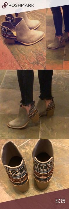 """New in box! Runs big ! Taupe tapestry oil finish New in box!  . Runs 1/2 -1 size size big . Would fit a 6.5 or 7 .   These booties are taupe with a splash of color . Heel approx 2.75"""". Qupid Shoes Ankle Boots & Booties"""