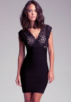 With a body-contouring bandage design, a hint of shine and super sexy V-neck lace top, this bebe dress is seriously sexy. Skirt is made from heavy duty fabric that stretches to hold you in. Top is crafted from a soft lightweight stretchy lace . Try it with a metallic heel and statement necklace to maximize your look.