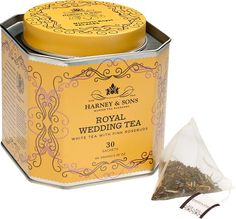 Royal Wedding Tea: From Harney & Sons, master tea blenders in the United Kingdom, this Royal Wedding Tea is a regal blend of Chinese mutan white tea buds, pink rosebuds, delicate cornflowers, and marigold petals that's naturally flavored with almond, coconut, and vanilla. This royal wedding tea blend was commissioned by the Historic Royal Palaces to celebrate the glorious occasion of Prince William and Kate Middleton's wedding and comes packaged in an elegant yellow keepsake tin.