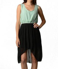 Mint & Black Pleated Sleeveless Hi-Low Dress by Good Stuff Apparel #zulily #zulilyfinds