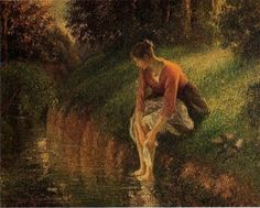 Young Woman Bathing Her Feet / Camille Pissarro (1830-1903). Oil on canvas, 73(H) x 92(W) cm. 1895.  Private collection.